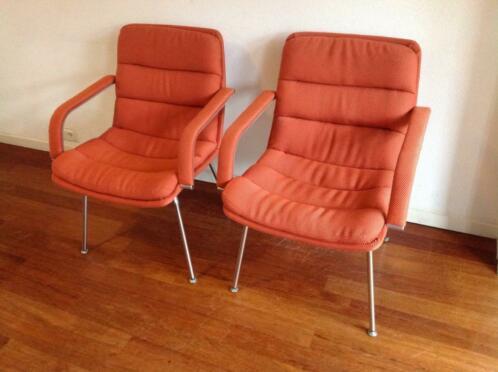 Retro Design Stoelen.Set Van 2 Artifort Harcourt Channel Retro Design Stoelen Pims